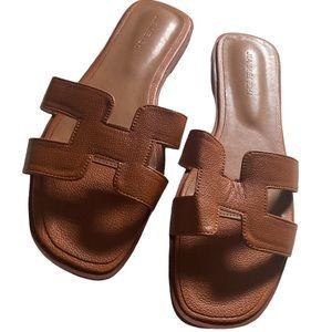 Tan H summer slide slippers 41